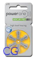 Blister mit 6 Hörgerätebatterien VARTA Powerone Typ 10 (PR70) Mercury free
